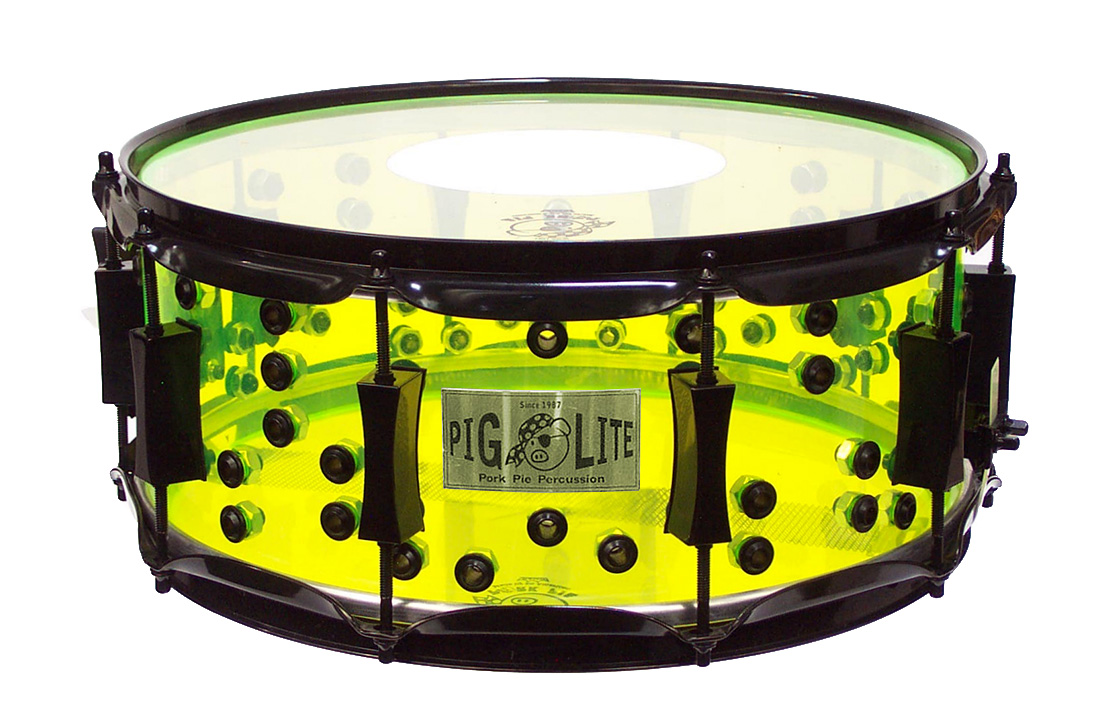 Pork Pie Acrylic Snare: Neon Green Piglite