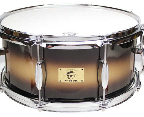 "Pork Pie Hip Pig Snare: 6.5""x14"" Black Gold Duco"