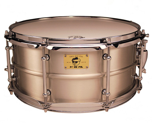 Pork Pie Hip Pig Snare: 6.5x14 Pig Iron Tin Finish
