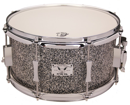 Pork Pie Little Squealer Snare: 7x13 Birch Mahogany with Pie in the Sky Black Sparkle