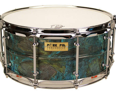 Pork Pie USA Custom Snare: 6.5x14 Patina Brass