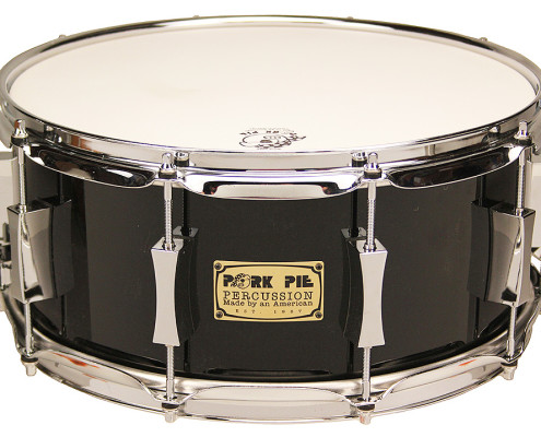Pork Pie USA Custom Snare: 6.5x14 Maple Oak Black Lacquer