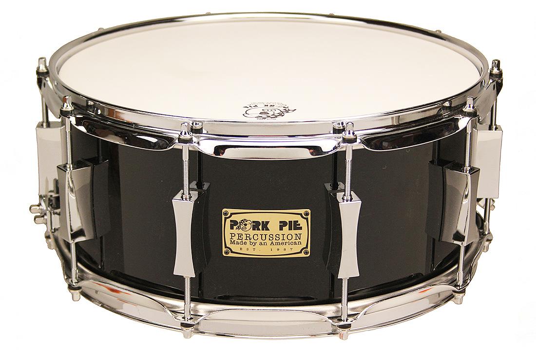 Pork Pie USA Custom Snare: 6.5x14 Maple Oak Black Lacquer
