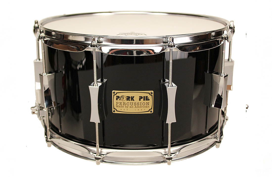 Pork Pie USA Custom Snare: 8x14 Maple Oak Black Lacquer