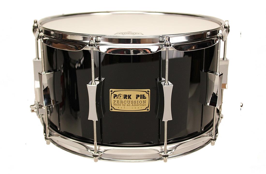 Pork Pie USA Custom Snare: 8x14 Maple Oak Black Lacquer