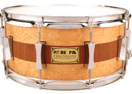 Pork Pie USA Custom Snare: 6.5x14 Brandied Peach with Mahogany Stripe Specialty Snare