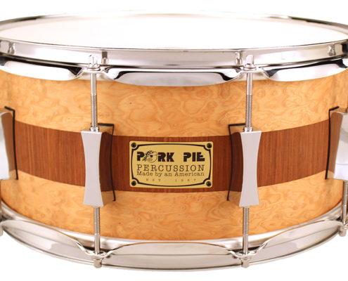 Pork Pie USA Custom Snare: 6.5x14 Brandied Peach with Mahogany Stripe Specialty Snare