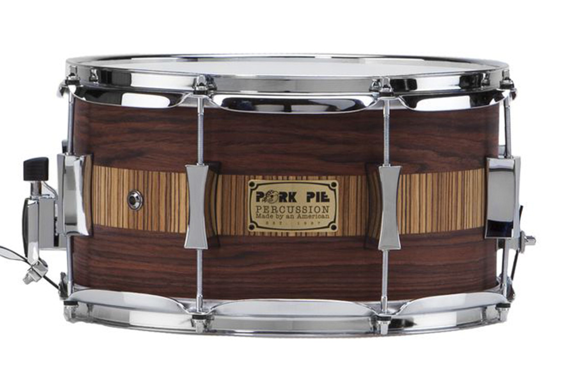 Pork Pie USA Custom Snare: 6.5x14 Rosewood Zebrawood Specialty Snare