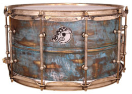 Pork Pie USA Custom Snare: 8x14 Aged Patina Brass Specialty Snare