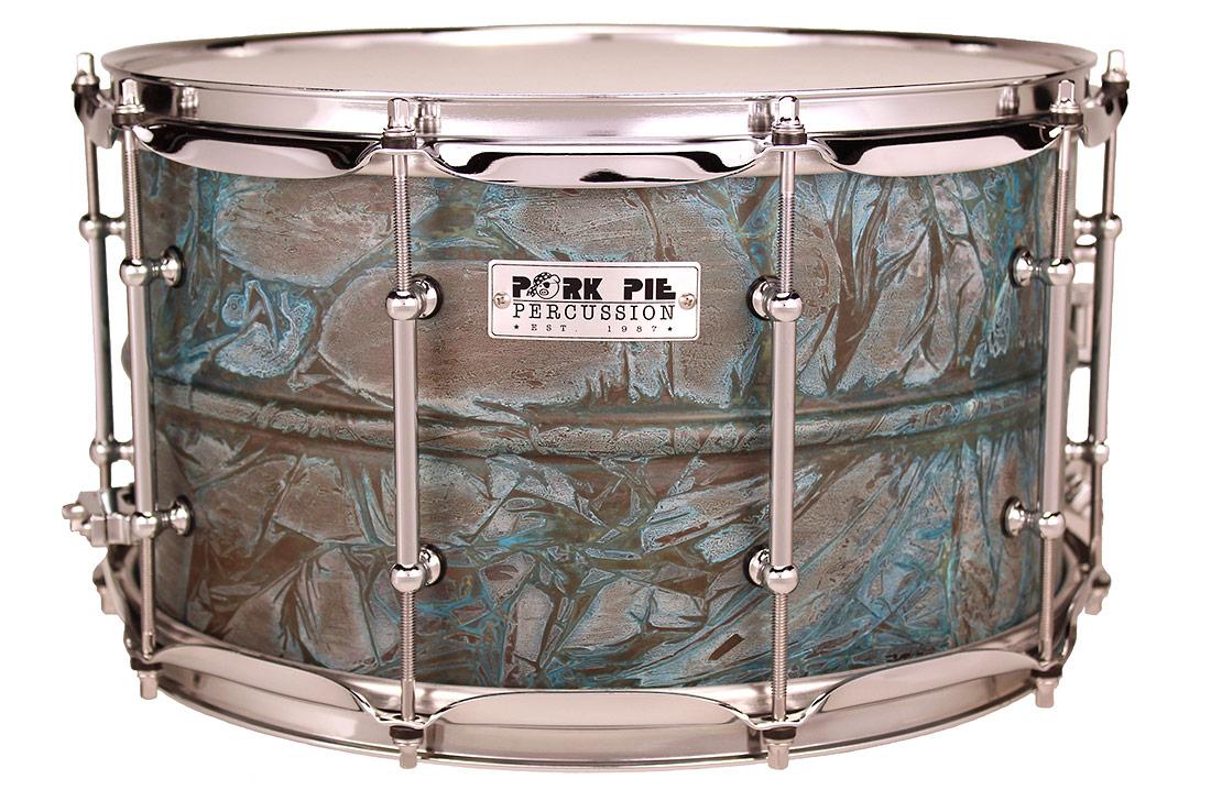Pork Pie USA Custom Snare: 8x14 Patina Brass Specialty Snare