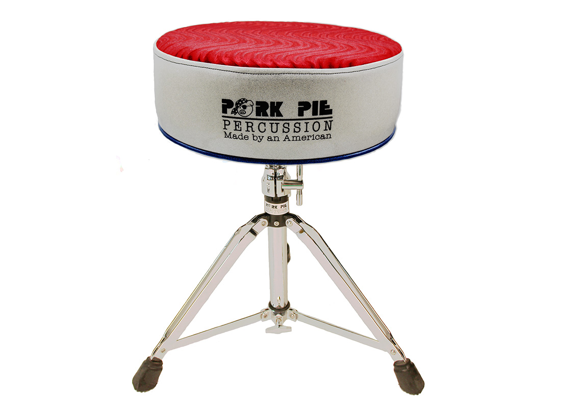 Pork Pie Throne: Round Red Silver and Blue