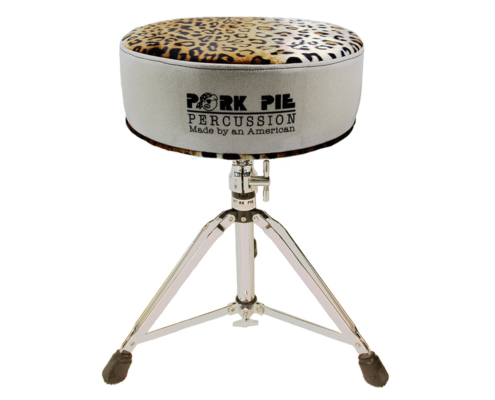 Pork Pie Throne: Round Silver Sparkle/Leopard Top