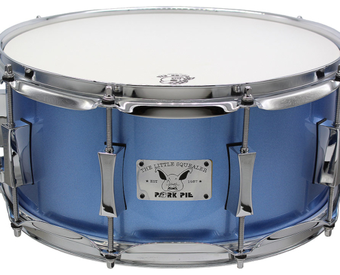 "Pork Pie Little Squealer Snare: 6.5""x14"" Birch Mahogany Porcaro Blue Metallic"