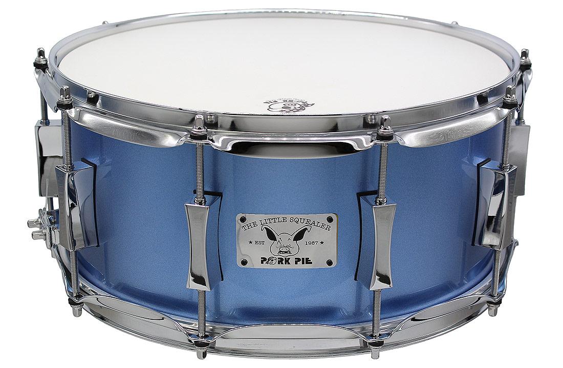 "Pork Pie Little Squealer Snare: 6.5""x14"" Birch Mahogany Porcaro Blue Metallic"
