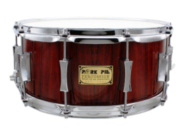 Pork Pie USA Custom Snare: 6.5x14 Fiddleback Hickory Rosewood Satin Finish